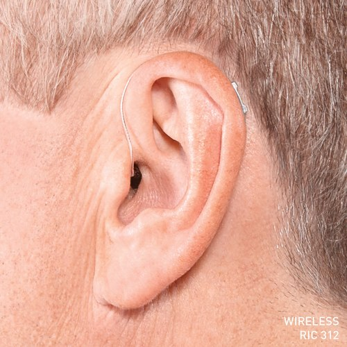 36 Halo IQ RIC 312 Sterling Silver Hearing Instrument fitted on a caucasian mans left ear